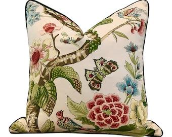 Schumacher Cranley Garden Pillow with Green Pipping.