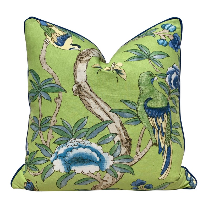 Thibaut Giselle Linen Pillow In Lime Green