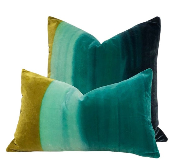 Ombre Velvet Pillow In Zest, Lagoon, Indigo. Lumbar Ombre Velvet Pillow by Etsy