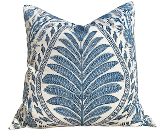 Thibaut Palampore Pillow in Blue and White. Lumbar Decorative Bird Pillow. Designer Pillows, accent cushion, decorative pillow cover