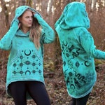 LARGE | Jade Tunic Hoodie One of a Kind Hand  Dyed & Hand Printed Cozy Warm Hooded Tunic Sweatshirt