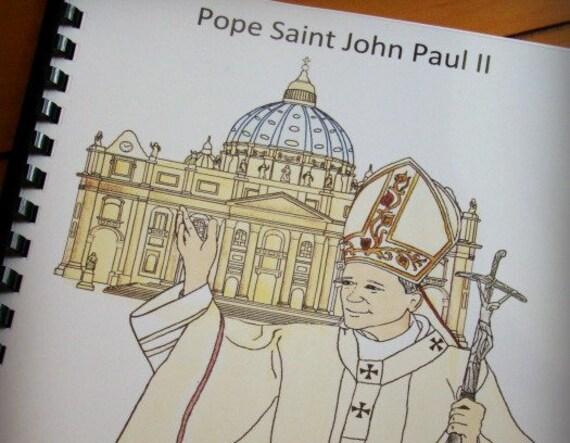 Pope Saint John Paul Ii Coloring And Activity Book Catholic Etsy
