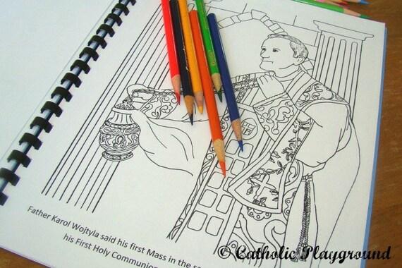 Santo Papa John Paul II para colorear y actividad libro   Etsy