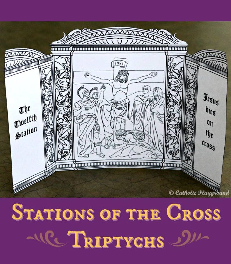 photograph about Printable Stations of the Cross titled Printable: Stations of the Cross Triptychs coloring