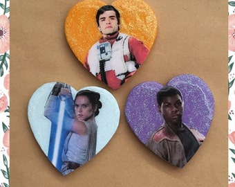 STAR WARS PINS - rey + finn + poe