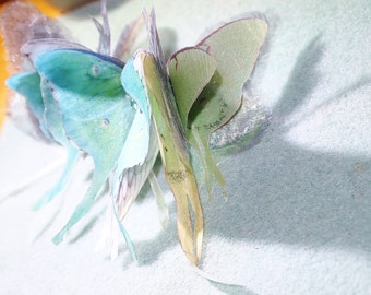 Silk organza Luna Moths and Butterflies are nestled together on a 3 inch French style half roundf hair clip.