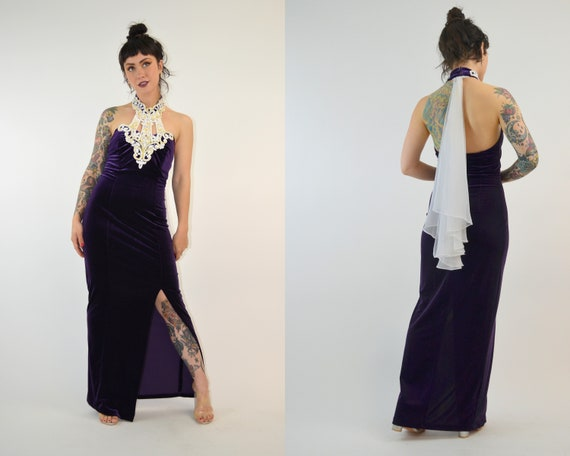 SMALL 1990s Velvet Maxi Dress Vintage Halter Dress