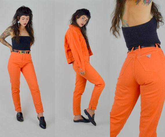 GUESS | Small | 1990s Orange Denim High Waisted Je