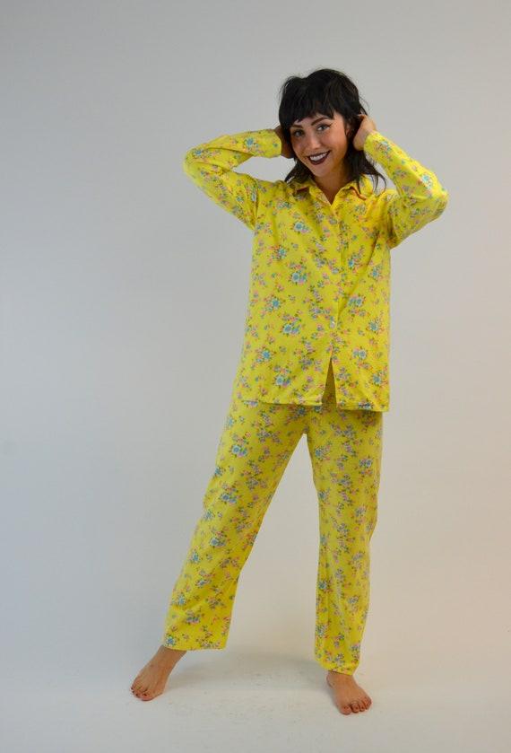 S/M 1960s Floral Pjs Vintage Two Piece Pajama Set… - image 3