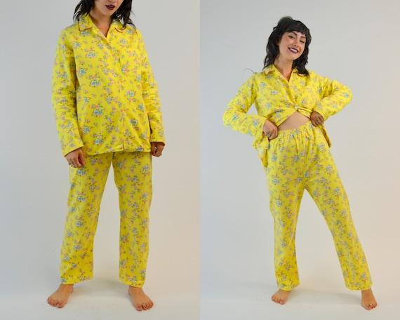 S/M 1960s Floral Pjs Vintage Two Piece Pajama Set… - image 1
