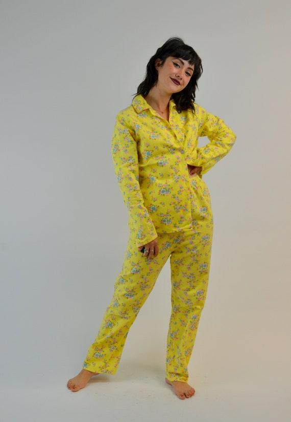 S/M 1960s Floral Pjs Vintage Two Piece Pajama Set… - image 2