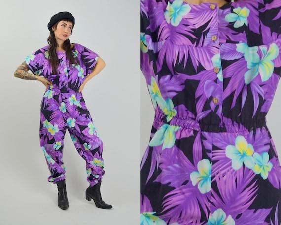 MEDIUM 1980s Floral Jumpsuit Vintage Bold Tropical