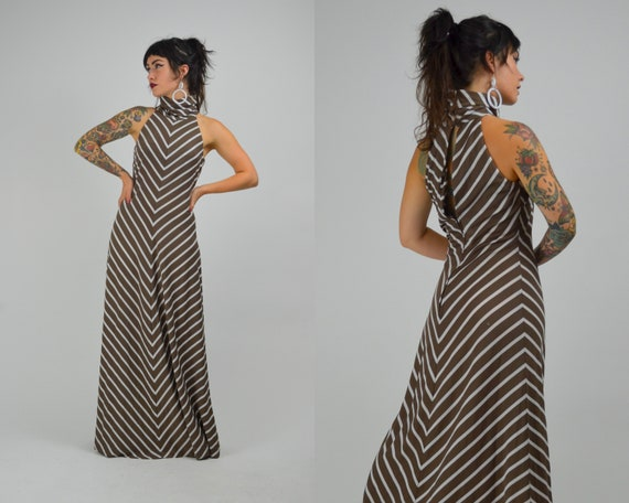 S - M  1970s Maxi Stripe Dress Vintage 70s Keyhole