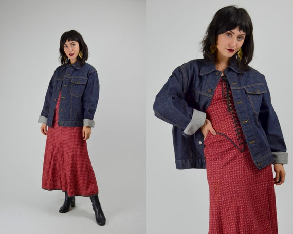 LARGE 1970s  Dark Denim Jacket Vintage Sears and R