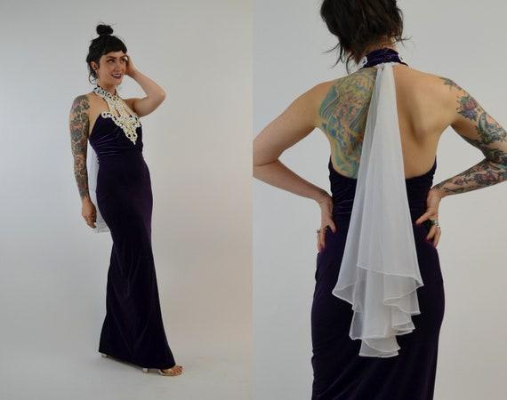 SMALL 1990s Velvet Maxi Dress Vintage Halter Dres… - image 6