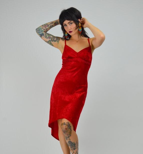 XS SMALL 1990s Red Velvet Dress Bright Crushed Vel