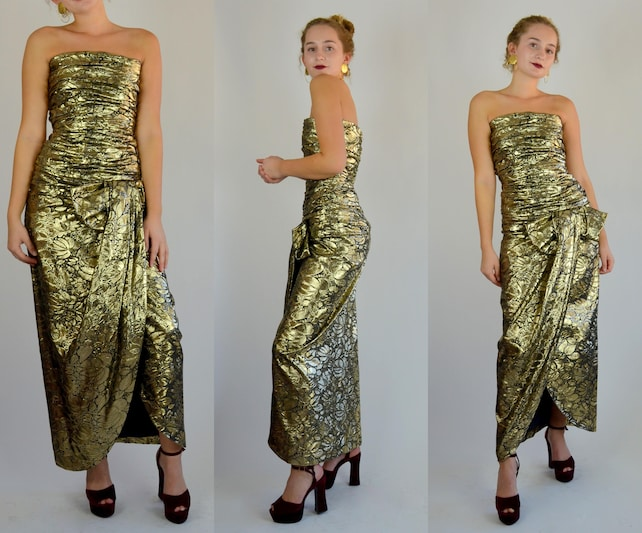 Scaasi Xs Small 1980s Arnold Scaasi Gold Lame Holiday Etsy
