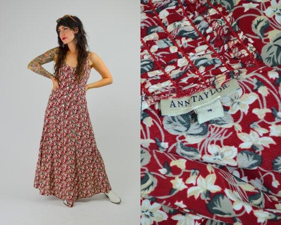 Medium 90s ANN TAYLOR Floral Maxi Dress 1990s Vint