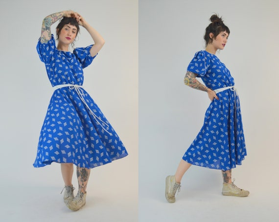 SMALL 80s Fit and Flare Dress Vintage Blue Puffed