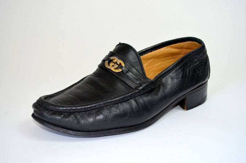 731b335ecc74c Gucci Loafers | 10 Womens| Vintage 1980s Black Leather Loafers 80s Designer  Gucci Shoes Mens Size 8.5