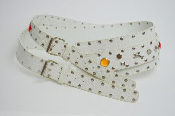 MEDIUM 1980s Wide Waist Belt Vintage Bold White Le