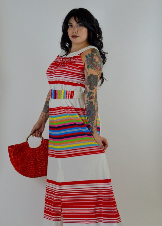 MEDIUM 1970s Colorful Striped Maxi Dress Vintage T