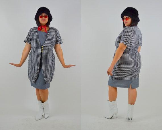 Plaid Mini Dress LARGE Vintage Black and White Che