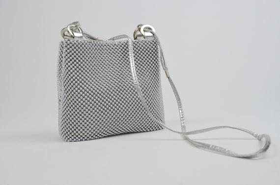 1960s Silver Crossbody Bag Vintage Beaded Metal 60