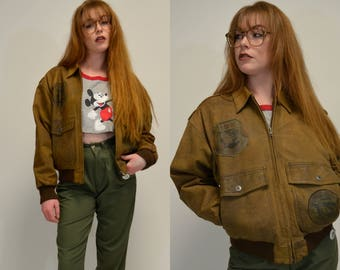 Amelia | Small Medium | 1990s Leather Bomber Jacket Vintage Patched 90s Zipper Front