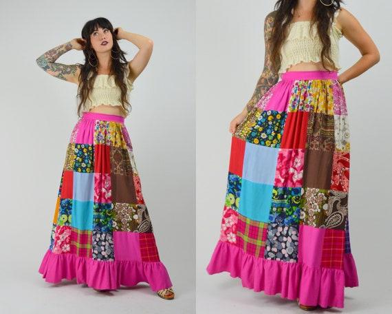 """28"""" waist 1970s Patchwork Skirt Cotton Vintage Sum"""
