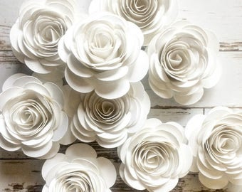 Paper flowers etsy white paper flowers loose flowers rolled paper flowers white party decorations wedding table decor bridal shower party summer wedding mightylinksfo