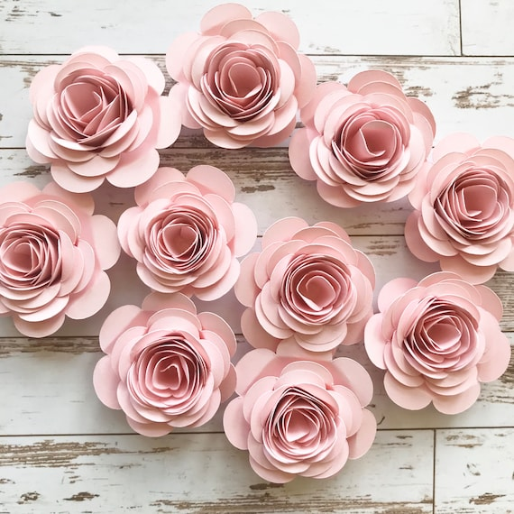 Pink Paper Flowers Loose Flowers Rolled Paper Flowers Pink Etsy