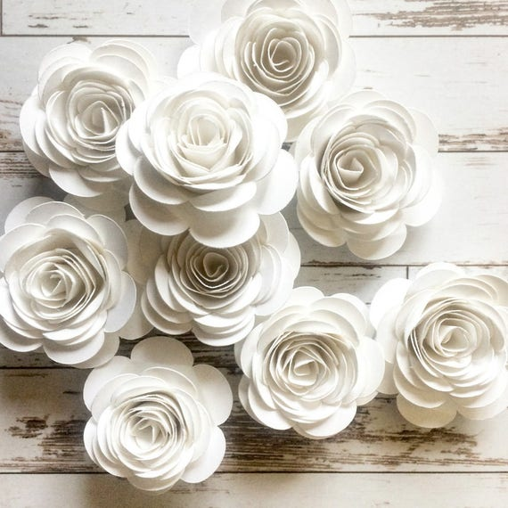 White Paper Flowers Loose Flowers Rolled Paper Flowers Etsy