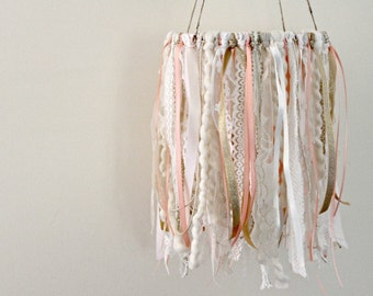 Baby Girl Nursery, Coral and Gold Nursery Mobile, Lace Mobile, Wedding Decorations, Ribbon and Lace Mobile, Boho Chic Nursery, Barn Wedding