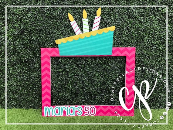 Birthday photo booth frame | Birthday cake photo booth prop | Birthday  backdrop | Cake photo booth | Selfie station prop | Printed