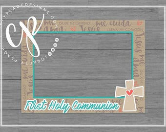 Communion photo booth frame | Baptism photo booth prop | First Holy Communion photo prop | Selfie frame | Printed