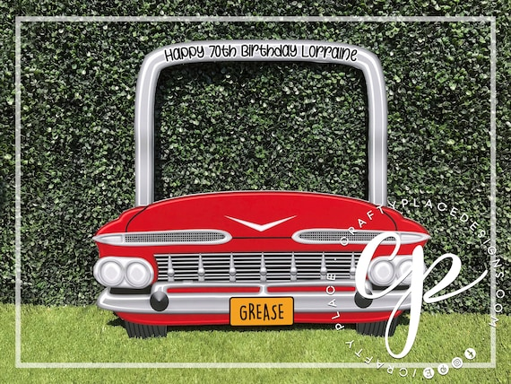 Grease Photo Booth Frame 1950s Photo Booth Prop Classic Car Photo Booth Cadillac Photo Frame Backdrop Selfie Frame Printed