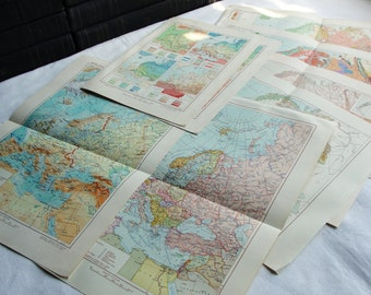 Europe -  Set of 8 Vintage Soviet Maps - 1950s (in Russian)