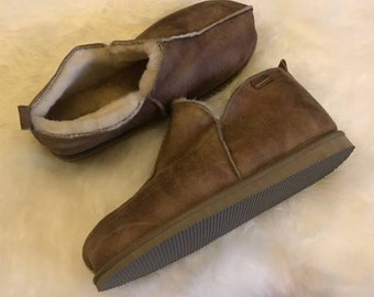 a7331f5fa3905 Ladies Luxury Genuine Real Sheepskin Bootie Slippers with Hard Wearing Sole