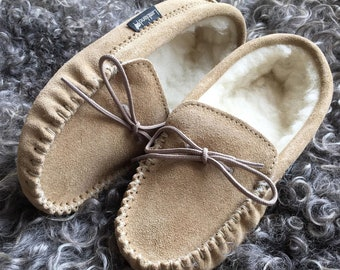 07b7026cf89c9 Ladies Handmade Super Soft Genuine Suede & Lambswool Moccasin Slippers with  Soft Suede Sole British Made