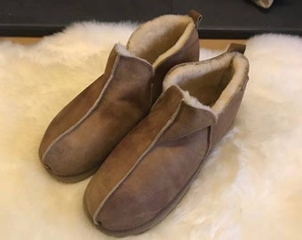 5917bf3f3362 Mens Genuine Real Sheepskin Bootie Slippers with Hard Wearing Sole