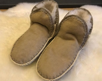30712c3d4022a Ladies Luxury Genuine Real Sheepskin Bootie Sock Slippers with Soft Suede  Sole