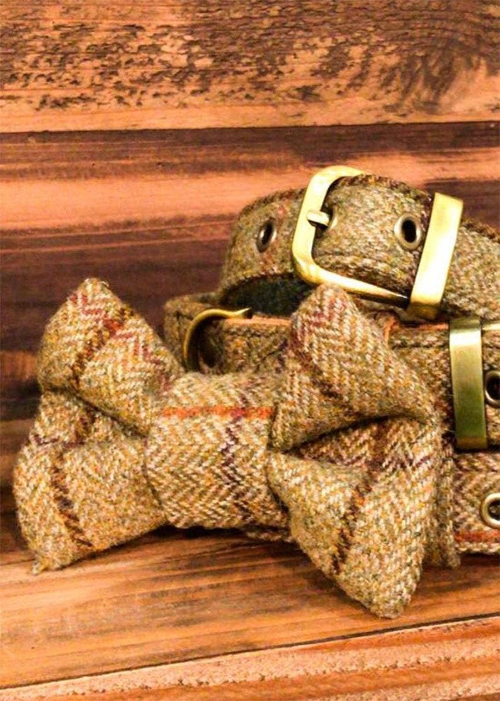 Luxury Tweed Dog Collar Bow Tie UK Made
