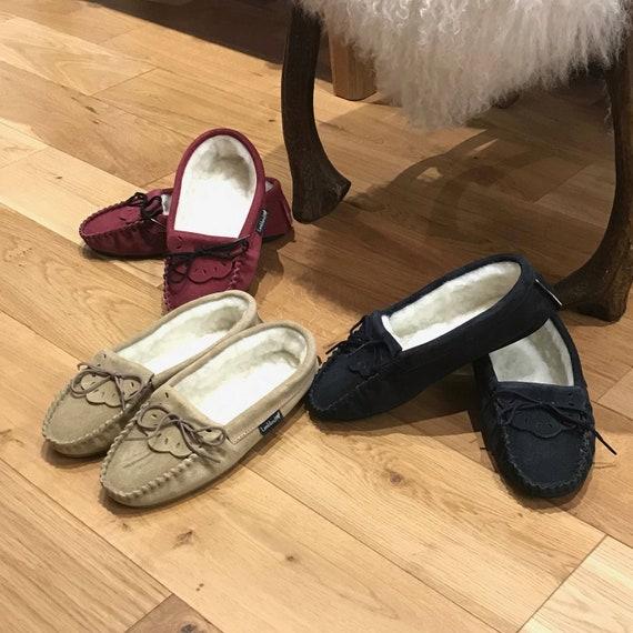 Unisex Hardsole Lambswool Moccasins Brown Ladies//Mens Slippers Real Wool
