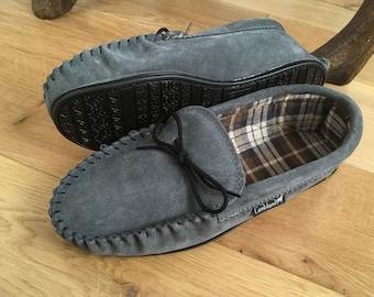 Mens Suede Cotton Lined Moccasins Slippers Hard Sole