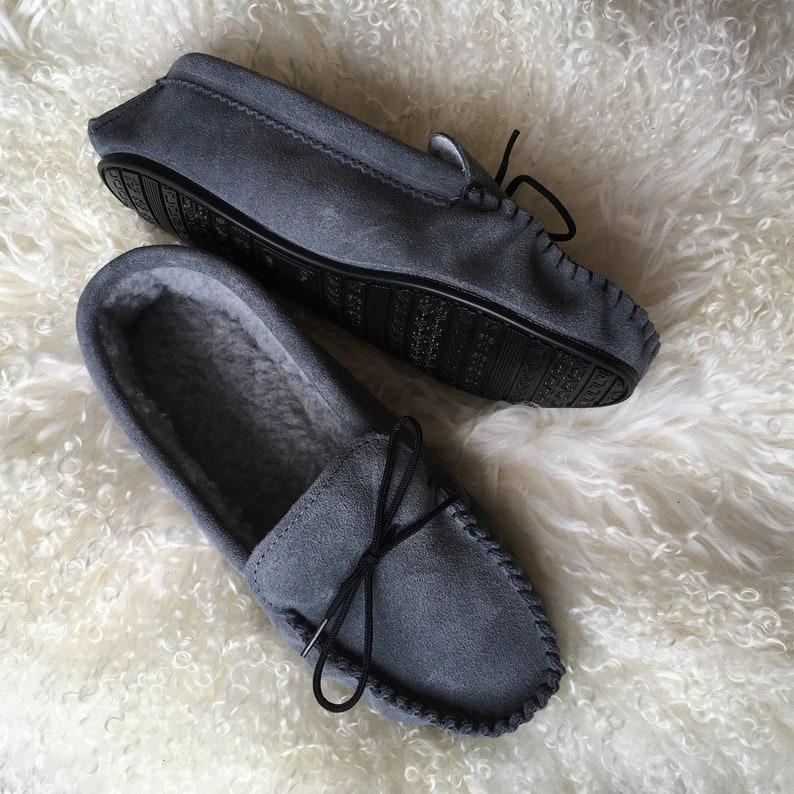 1f00d3cfcb7 Mens Handmade Berber Fleece Lined Moccasin Slippers with Hard