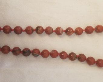Necklace gemstone chain red jasper 50 cm (2789)