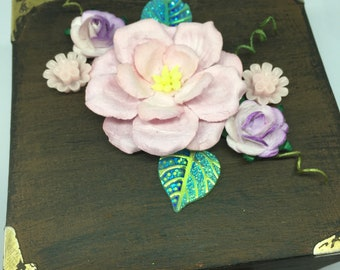Trinket Box - pink and lilac floral