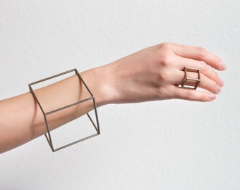 Cube Bracelet by Alminty3D   Geometric bracelet, stainless steel, gold steel