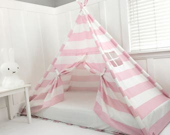 Play Tent Canopy Bed in Pink and White Stripe WITH Doors